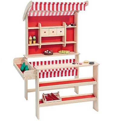 Houten winkeltje met stoffen luifel in rood wit - Keuken in rood en wit ...